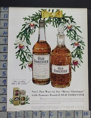 1950 Distillery Old Forester Straight Bourbon Whiskey Bottle Vintage Ad Cx01