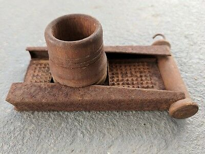 Antique Country Primitive Nutmeg Grinder Tin & Wood as is