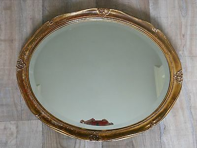 Vintage Oval Bevelled Edge Wall Mirror with Gold Frame