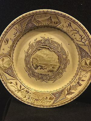 W. Turner & Sons Tunstall Phileau Aesthetic Movement  Brown Transfer two plates