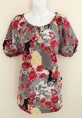 HEALING HANDS Women Scrub Top Size 2X Short Sleeve Black Gold Red Floral