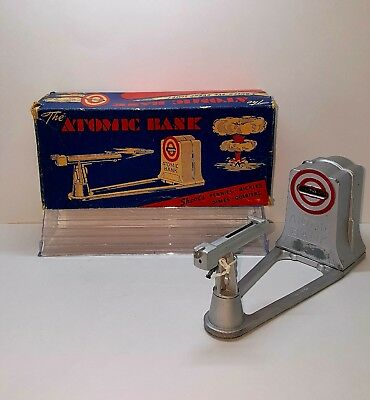 VINTAGE 1950s ATOMIC COIN BANK MECHANICAL/W ORIGINAL BOX AND KEY