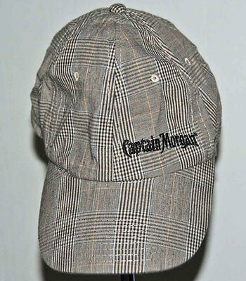 "Collectible Rum Baseball Cap CAPTAIN MORGAN brown Plaid, elastic fit 22"" head"