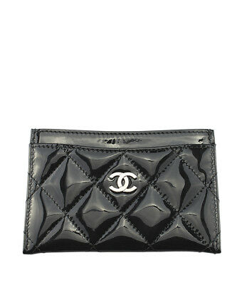 Chanel A31519 Black Quilted Patent Leather Card Holder