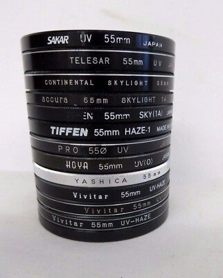 LOT of 55MM Filters - 12 filters - one cover- made in japan