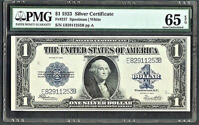 1923 $1 Silver Certificate / Pmg 65 Epq Gem Uncirculted/last Year Of Large Notes