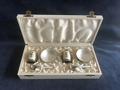 Danish Sterling Silver and Ceramic Salt Cellar and Pepper Shaker Set - Gorgeous