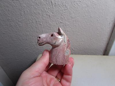Horse Head, Hand carved Stone from the Andes of Peru. Multi Hued Horse, Unique
