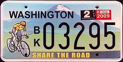 """WASHINGTON * SHARE THE ROAD """" BICYCLE MINT Graphic License Plate"""