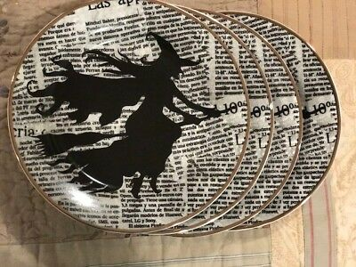 4 Ciroa Wicked Flying Witch Silhouette on Script Vintage Style Salad Plates