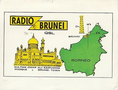 Collectible 1968 Radio Brunei (Brit protected State) shortwave QSL 4865 kHz