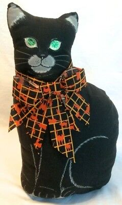 Halloween country primitive fall upright BLACK CAT doorstop cloth & bow weighted
