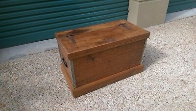 Genuine Antique Hoop or Baltic Pine Timber Chest/Trunk.