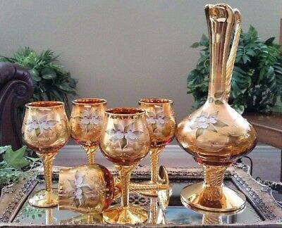 (6 PC) Italian Venetian Barbini Murano 24K Gold & Amber Decanter Wine Glass Set