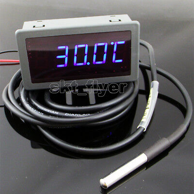 1pcs 2m F/C Blue LED Digital Car Water Temp Meter Gauge Thermometer DS18B20