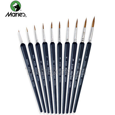 10pcs Marie's Weasel Hool Liner Pen Brush Round Painting Art Supplies Drawing