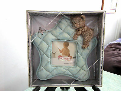 Connoisseur Blue Star Sleeping Teddy  Easel Picture Frame-3X3-Boy 180252H