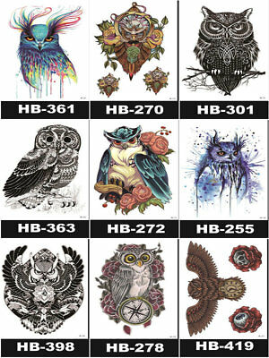 A5 Owl collection big colorful Waterproof  Arm Temporary Tattoo Sticker 21X15cm