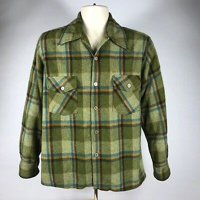 Vintage Atkinson Mens Wool Shirt Green Plaid Button Front size S / M
