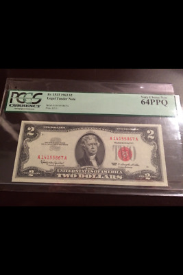 1963 $2 Dollar Red Seal Note Pcgs - Ppq 64 Very Choice New Pcgs