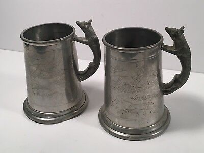 Pair of Vintage Pewter Sheffield England Tankards With Fox Handles