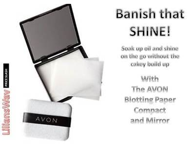 AVON Blotting Paper Compact with Mirror~EASY Peasy Makeup Touch-up~RRP £7