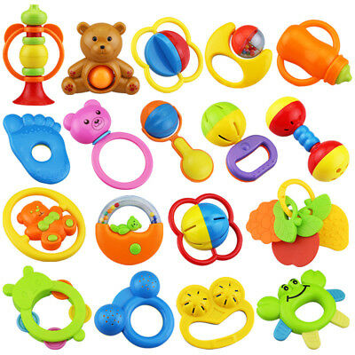 9pcs/set Cartoon Baby RattleTeether Babys Wrist Teeth Bite Bell Toy Christmas