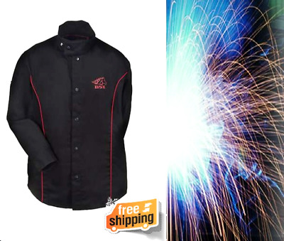 Flame-Resistant Welding Jacket Extended Collar Protect Black Red Flames Large