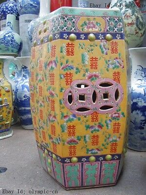 """20"""" Old Chinese finely wucai porcelain birthday peach peony happy stool pair ST"""