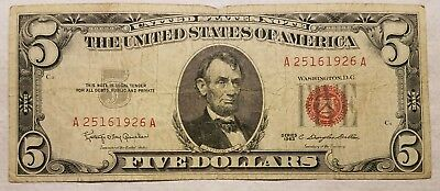1963 $5.00 United States Note Red Seal U.S. Five Dollar Bill LOOK!