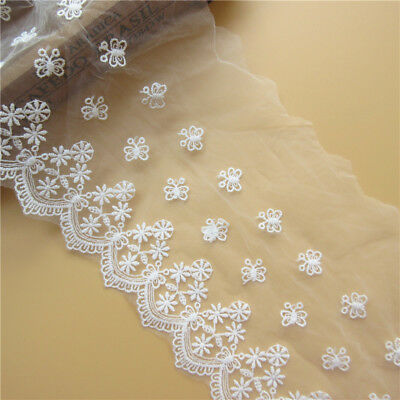 1m Butterfly Flower Embroidered Lace Edge Trim Ribbon Applique DIY Sewing Crafts