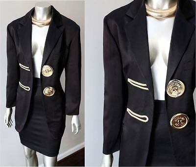 Moschino Couture Italy Vintage 90s Gold Black Pencil Skirt Blazer Jacket Suit S