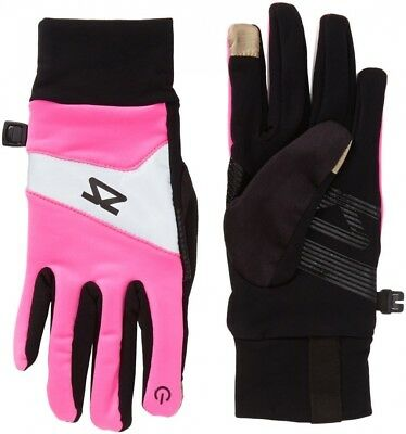 (Neon Pink, Small) - Zensah Reflect Running Gloves. Free Delivery