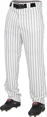 (Large, White/Black) - Rawlings Youth Semi-Relaxed Pants with Pin Stripe Design