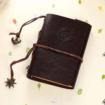 Retro Vintage Leather Bound Blank Page Notebook Note Notepad Journal Diary Gift