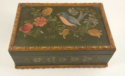 Vintage Hand Painted Wood Box Folk Art Green and Brown Floral Bird German?