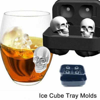 Skull Shape 3D Ice Cube Mold Maker Bar Party Silicone Mould Trays Halloween NEW