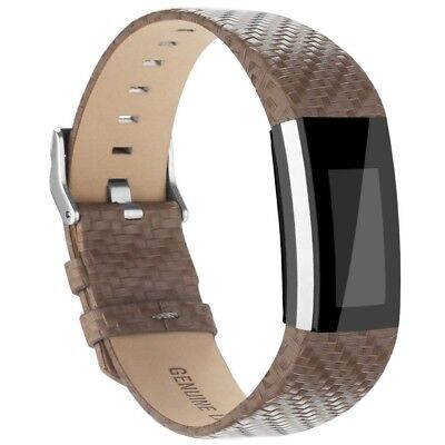(Light Weave Taupe) - AK Fitbit Charge 2 Leather Band, Replacement Luxury