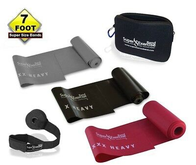(i. EXTREME STRENGTH Black Gray Red SET) - SUPER EXERCISE BAND 2.1m Latex Free