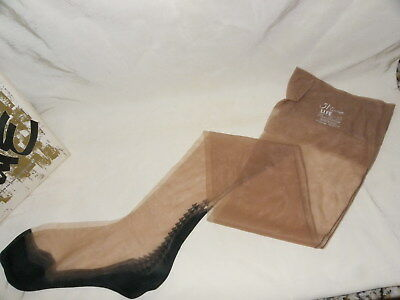 Vtg Seamed Garter Stockings~9 1/2~Drag Queen~Theater~Sexy Nylons~Taupe In Box