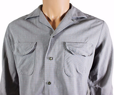 VTG 50s CAL-MADE SPORTSMAN Men's CASUAL SHIRT Medium Loop Collar Rayon / Dacron