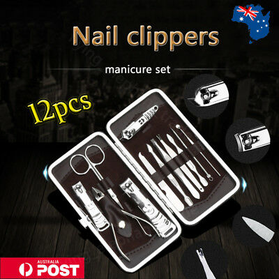 12PCS Stainless Manicure Pedicure Set Nail Clippers Kit Cuticle Grooming Case AU