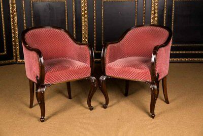 2 Beautiful Armchair Chair Um 1920 Mahogany