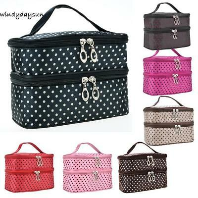 Neue Frauen Mode Portable Doppeldeck-Tasche Dot Muster Make-up RR