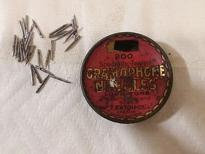 Vintage Small Red Round Metal Tin of Gramophone Needles by T. Eaton Co. Canada
