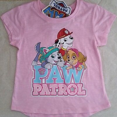 PAW PATROL Licensed Girl short sleeve tee t shirt top pink NEW sizes 2-4