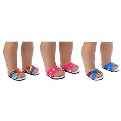 """3Pair Beach Sandals Slippers Shoes for 18"""" American Girl Doll Clothes Summer"""