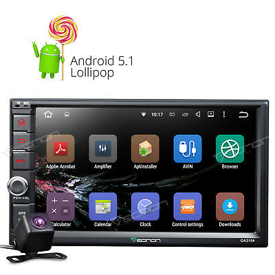 """7""""Android Double DIN Car Stereo GPS Navigation Head Unit Touch DAB+RDS Camera B"""