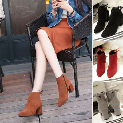 Fashion Autumn Women Chunky Heel Side Zipper Shoes Suede Lace-up Ankle Boots