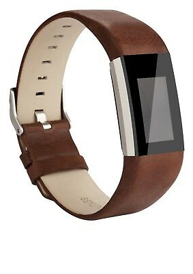 (Coffee Brown) - AK Fitbit Charge 2 Leather Band, Replacement Luxury Genuine